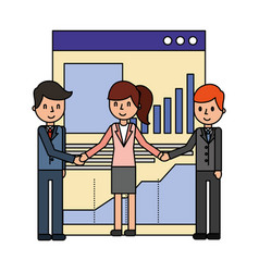 business people with web page template vector image