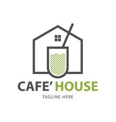 cafe house logo template design vector image