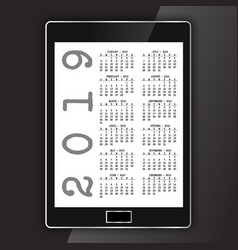 calendar on generic electronic tablet vector image