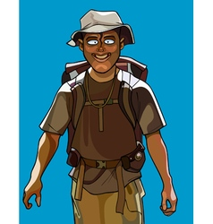 cartoon cheerful man traveler with a backpack vector image