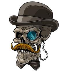 cartoon gentleman skull with black hat and monocle vector image