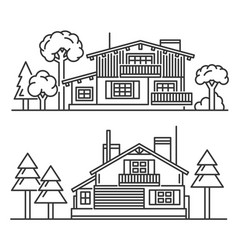 chalet with trees icons set on white background vector image