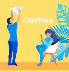 Chatting email communication social media banner vector
