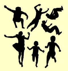 Children training sport silhouette vector