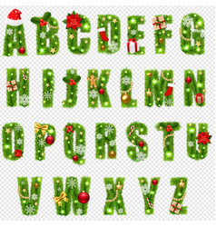 christmas alphabet with christmas toys isolated vector image