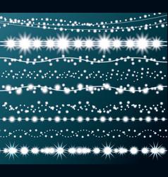christmas string lights set new year neon garland vector image