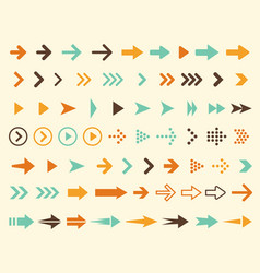 collection arrows icons in retro style and in vector image
