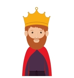 Colorful half body king with crown and beard vector