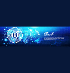 Crypto currency concept bitcoin sign on blue world vector