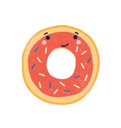 cute doughnut flat adorable vector image