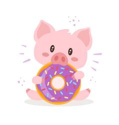 Cute pink pig vector