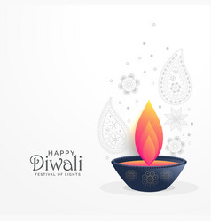 Diwali festival greeting with diya and paisley vector