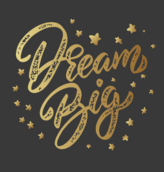 dream big lettering phrase isolated on dark vector image