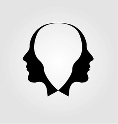 Faces of man in opposite direction vector image