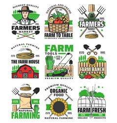 Farming agriculture icons farm field and farmer vector