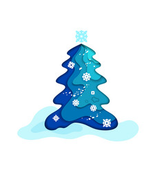 fir tree blue vector image