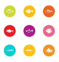fish day icons set flat style vector image