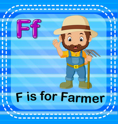 flashcard letter f is for farmer vector image