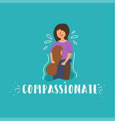 Flat banner compassion daughter girl crying vector