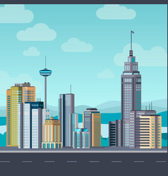 Flat cityscape skyscraper modern buildings city vector