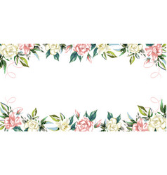 floral frame rose flowers white background vector image