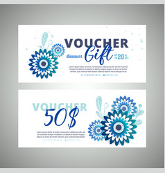 Floral gift voucher colorful background vector