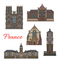 french travel landmark icon of rennes vector image
