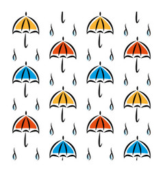Fun pattern with umbrellas and rain on white vector