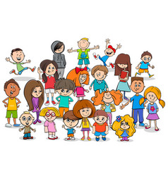 funny children cartoon characters group vector image