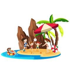 girl on island vacation vector image