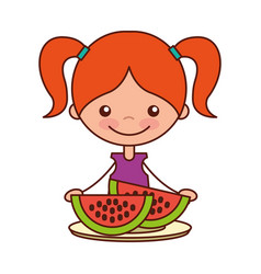 girl with fresh sliced watermelon vector image