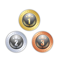 gold silver and bronze quality badges vector image