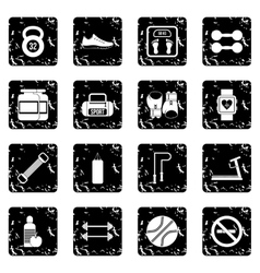 Gym set icons grunge style vector image