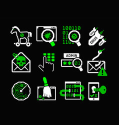 Hacking icons set vector