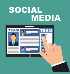 hand touch screen tablet team social media vector image