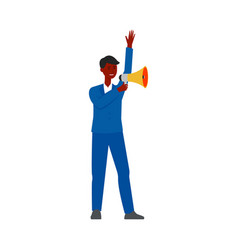 happy businessman holding a megaphone making an vector image