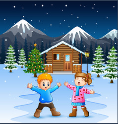 Happy kids playing in front snowing wooden vector