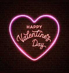 happy valentines day neon lettering inscription vector image