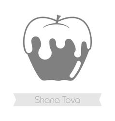Honey on apple Rosh Hashanah icon Shana tova vector
