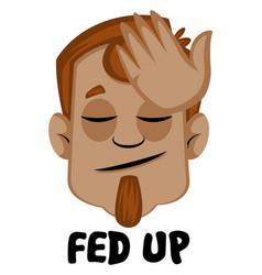human emoji feeling fed up on white background vector image