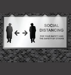 Illuminated advertising billboard social distancin vector