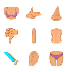 improve the body icons set cartoon style vector image