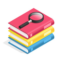 isometric book icon stack books textbook pile vector image