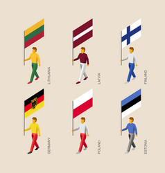 Isometric people with flags of europe vector
