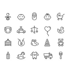 large set icons for child concepts vector image