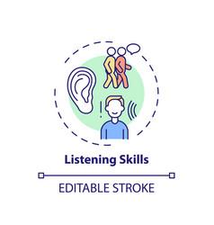 Listening skills concept icon vector