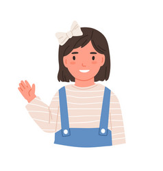 little smiling girl waving with hand saying hi or vector image