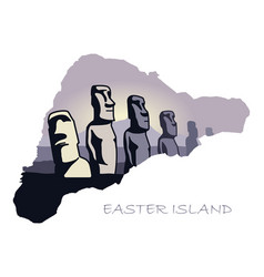 Map of easter island with the image of attractions vector