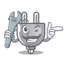 Mechanic miniature electric plug the shape cartoon vector