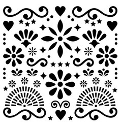 Mexican folk art pattern black and white vector